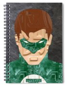 Green Lantern Superhero Portrait Recycled License Plate Art Spiral Notebook
