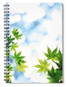 Green Leaves On Mottled Cloudy Sky Spiral Notebook