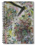 Green Pink Brown Abstract Art Spring Color Blossom Flower Butterfly Painting Abstract Acrylic Ink Ar Spiral Notebook