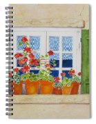 Green Shutters With Red Flowers Spiral Notebook