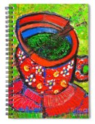 Green Tea In Red Cup Spiral Notebook