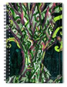 Green Tree With Pink Watercolor Spiral Notebook