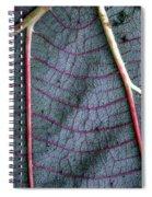 Grey Leaf With Purple Veins Spiral Notebook
