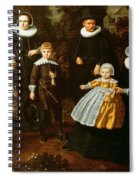 Group Portrait Of Three Generations Of A Family In The Grounds Of A Country House Oil On Canvas Spiral Notebook