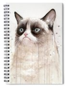 Grumpy Watercolor Cat Spiral Notebook
