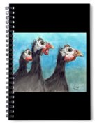Guinea Hen Rooster Trio Farm Ranch Animal Art Spiral Notebook