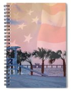 Gulf Shores Beach With Flag Spiral Notebook
