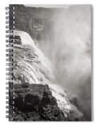 Gullfoss Iceland In Black And White Spiral Notebook