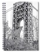 Gw Bridge American Flag In Black And White Spiral Notebook