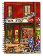 H. Piche Grocery - Goosevillage -paintings Of Montreal History- Neighborhood Boys Play Street Hockey Spiral Notebook