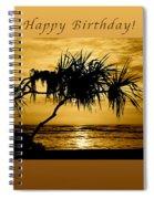 Happy Birthday Golden Sunrise Spiral Notebook