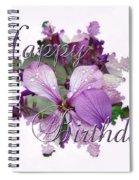 Happy Birthday Greeting Card - Purple Luneria Spiral Notebook