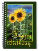 Happy Birthday Happy Sunflowers Couple Spiral Notebook
