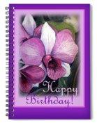 Happy Birthday Orchid Design Spiral Notebook