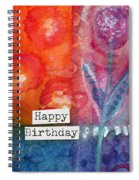 Happy Birthday- Watercolor Floral Card Spiral Notebook