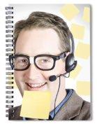 Happy Business Man Wearing Helpdesk Headset Spiral Notebook