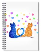 Happy Cats And Hearts Spiral Notebook