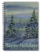 Happy Holidays - Snowy Winter Evening Spiral Notebook