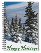 Happy Holidays - Winter Trees And Rising Clouds Spiral Notebook