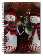 Happy Holidays - Christmas - Snowman Collection - Greeting Cards Spiral Notebook