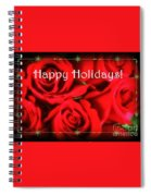 Happy Holidays - Red Roses Green Sparkles - Holiday And Christmas Card Spiral Notebook