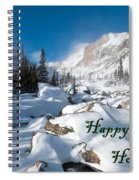 Happy Holidays Snowy Mountain Scene Spiral Notebook