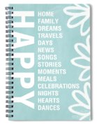 Happy Things Blue Spiral Notebook