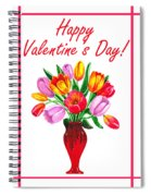Happy Valentines Tulip Bouquet Spiral Notebook