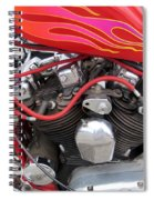 Harley Close-up Pink And Red Flames Spiral Notebook