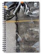Harley Close-up Rain Reflections Tall Spiral Notebook