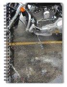 Harley Close-up Rain Reflections Wide Spiral Notebook