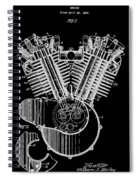 1923 Harley Davidson Black And White Engine Patent Spiral Notebook