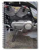 Harley Engine Close-up Yellow Line Spiral Notebook