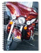 Harley Red W Orange Flames Spiral Notebook
