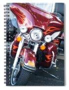 Harley Red W Orange Flames Spiral Notebook