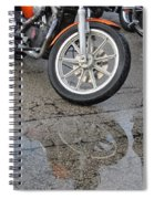 Harley Reflection In Rain  Spiral Notebook