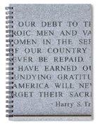 Harry S Truman Quote Memorial Spiral Notebook