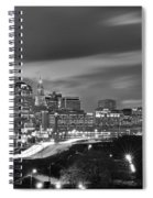 Hartford Skyline At Night Bw Black And White Spiral Notebook