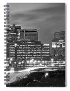 Hartford Skyline At Night Bw Black And White Panoramic  Spiral Notebook