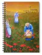 Harvesting Poppies In Tuscany Spiral Notebook