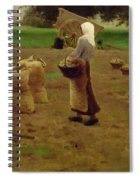 Harvesting Potatoes Oil On Canvas Spiral Notebook
