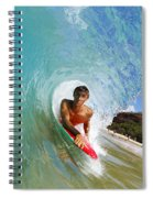 Hawaii, Maui, Makena - Big Beach, Boogie Boarder Riding Barrel Of Beautiful Wave Along Shore. Spiral Notebook