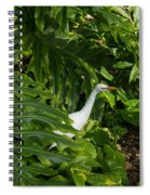 Hawaiian Garden Visitor - A Bright White Egret In The Lush Greenery Spiral Notebook