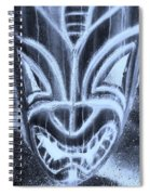 Hawaiian Mask Negative Cyan Spiral Notebook