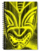 Hawaiian Mask Negative Yellow Spiral Notebook