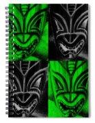 Hawaiian Masks Black Green Spiral Notebook