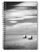 Hay Bales Black And White Spiral Notebook