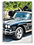 Chevrolet Corvette Vintage With Curly Background Spiral Notebook