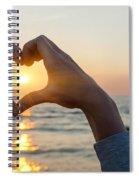 Heart Shaped Hands Framing Ocean Sunset Spiral Notebook