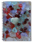 Hearts On Sea Glass Spiral Notebook
